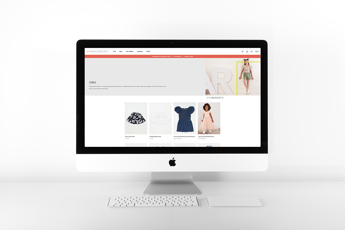 Angel & Rocket Shopify store design by Yellow Pixel