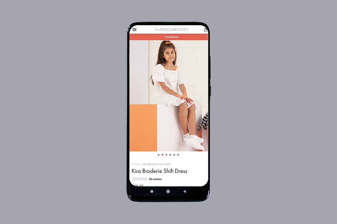 Angel & Rocket Shopify store design mobile view by Yellow Pixel
