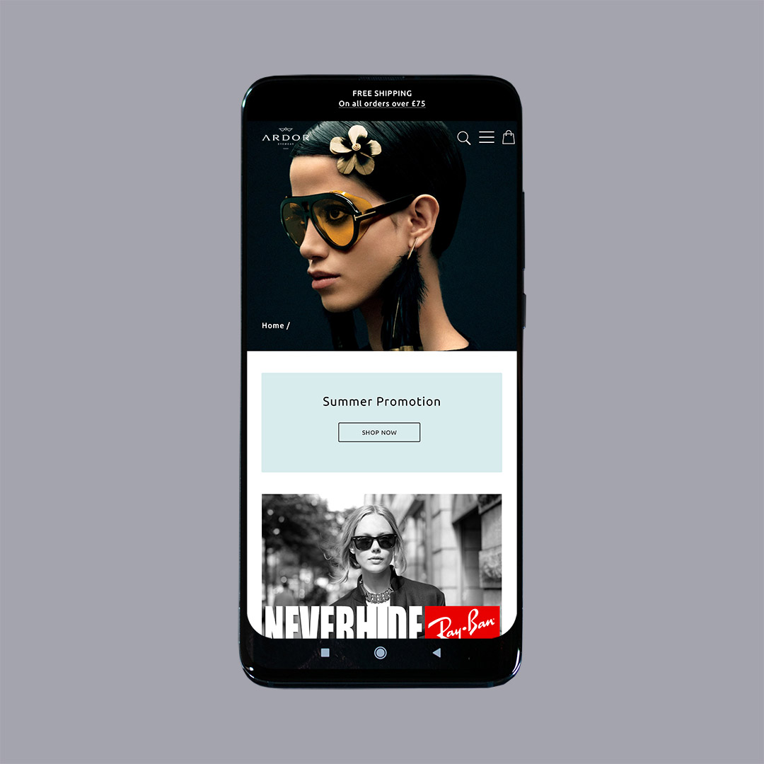 Ardor Eyewear casestudy by Yellow Pixel eCommerce for Opticians