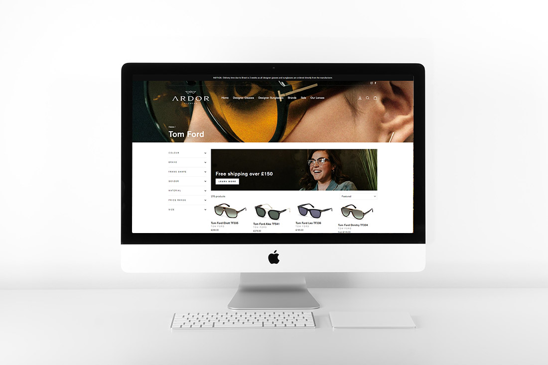 Ardor Eyewear Tom Ford Collection Shopify design by Yellow Pixel